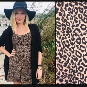 🖤 Leopard Cheetah Button Fit Flare Mini Dress Cap
